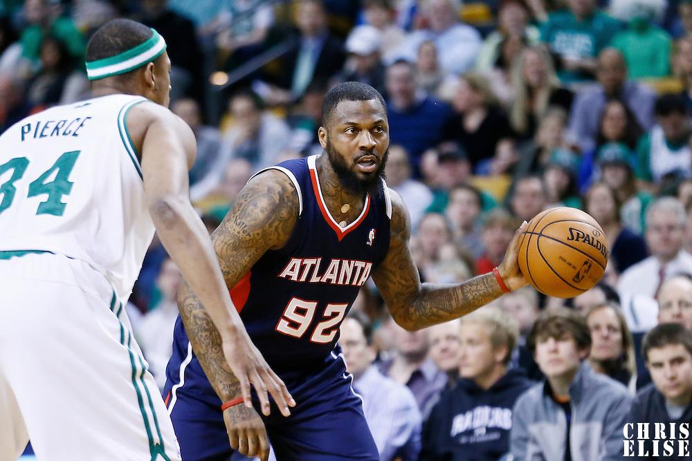 29 March 2013: Atlanta Hawks small forward DeShawn Stevenson (92) looks to pass the ball during the Boston Celtics 118-107 victory over the Atlanta Hawks at the TD Garden, Boston, Massachusetts, USA.