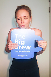 "© Licensed to London News Pictures . 19/01/2015 . Liverpool , UK . Sacha Parkinson from Coronation Street and The Mill . Celebrities pose with "" Big Brew "" placards in support of mental health awareness as today (19th January 2015) marks "" Blue Monday "" , the day regarded by many as the most depressing in the year . Campaigners are urging the public to show support by tweeting sefies with their favourite brew and the hashtag "" #brewfie "" . In London , Deputy Prime Minister Nick Clegg , is announcing his campaign to improve mental health awareness , reduce stigma and promote a "" zero ambition "" target for suicide . Photo credit : Joel Goodman/LNP"