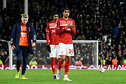 Lukas Nmecha (20) of Middlesbrough applauds the travelling fans at full time during the EFL Sky Bet Championship match between Fulham and Middlesbrough at Craven Cottage, London, England on 17 January 2020.