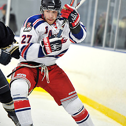 Toronto, ON - Feb 16 : Ontario Junior Hockey League Game Action between the North York Rangers Hockey Club and the Toronto Lakeshore Patriots Hockey Club.  Brandon Gaudette #27 of the North York Rangers Hockey Club during third period game action.<br /> (Photo by Gary Keys / OJHL Images)