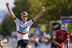 September 1, 2018 - Bruxelle, Belgique - ACKERMANN Pascal (GER) of Bora - Hansgrohe celebrates as he wins before STUYVEN Jasper (BEL) of Trek - Segafredo during the Brussels Cycling Classic 2018  with start and finish in Brussels on September 01, 2018 in Brussel, Belgium, 1/09/2018 (Credit Image: © Panoramic via ZUMA Press)