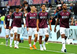 Swansea City players warm up - Mandatory by-line: Nizaam Jones/JMP- 21/08/2018 - FOOTBALL - Liberty Stadium - Swansea, Wales - Swansea City v Leeds United - Sky Bet Championship