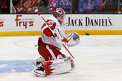 Nov 17, 2011; San Jose, CA, USA; Detroit Red Wings goalie Jimmy Howard (35) warms up before the game against the San Jose Sharks at HP Pavilion.  Mandatory Credit: Jason O. Watson-US PRESSWIRE