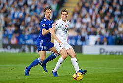 LEICESTER, ENGLAND - Saturday, November 10, 2018: Leicester City's Jonny Evans (L) and Burnley's Chris Wood during the FA Premier League match between Leicester City FC and Burnley FC at the King Power Stadium. (Pic by David Rawcliffe/Propaganda)