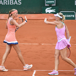 Kristina Mladenovic (france) and Timea Babos (Hungary) shakes hand during Day 9 for the French Open 2018 on June 4, 2018 in Paris, France. (Photo by Anthony Dibon/Icon Sport)