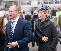 CHELTENHAM, ENGLAND-13-MAR-2012: The Cheltenham Racing Festival in Gloucestershire starts.<br /> Zara Phillips with husband Mike Tindall