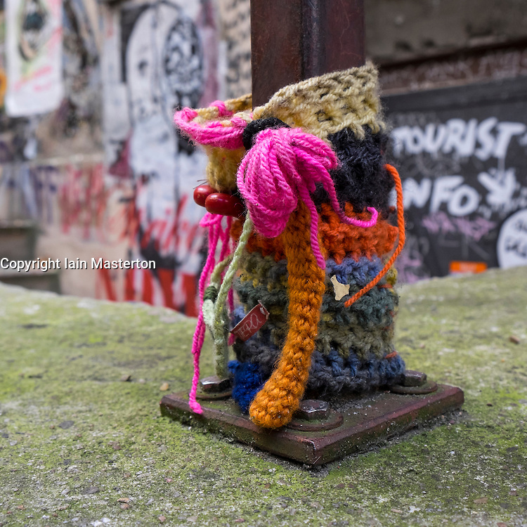 Unique knitted street art within courtyard off Rosenthaler Strasse in Mitte Berlin Germany
