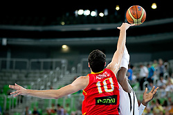 Alejandro Abrines of Spain blocks Dennis Schroeder of Germany during basketball match between National teams of Serbia and Latvia in Quarterfinal Match of U20 Men European Championship Slovenia 2012, on July 20, 2012 in SRC Stozice, Ljubljana, Slovenia. (Photo by Matic Klansek Velej / Sportida.com)