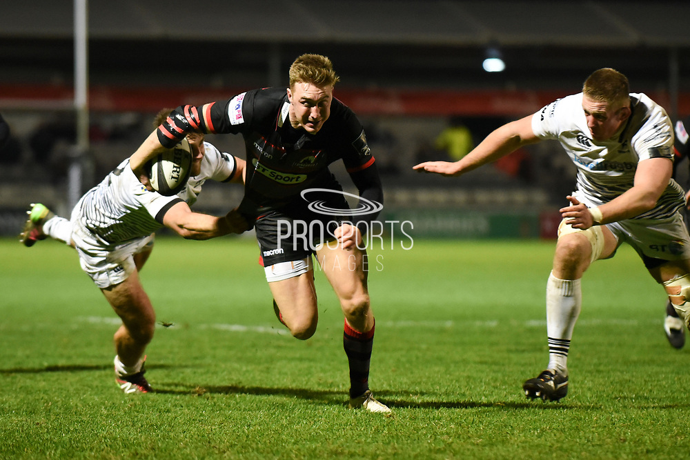 Winger Dougie Fife at top speed during the Guinness Pro 14 2017_18 match between Edinburgh Rugby and Ospreys at Myreside Stadium, Edinburgh, Scotland on 4 November 2017. Photo by Kevin Murray.
