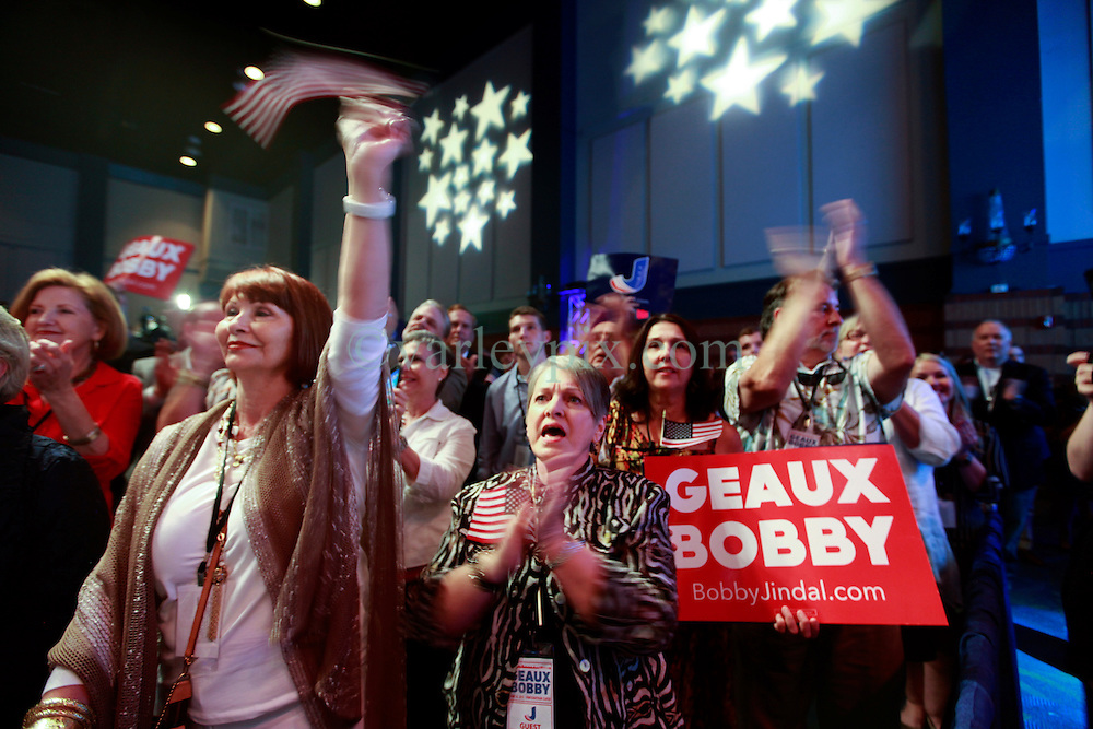 24 June 2015. Kenner, Louisiana.<br /> Supporters of Louisiana Governor Bobby Jindal gather to hear him announce his run for President of the United States during a political event at the Pontchartrain Center in Kenner, La.<br /> Photo©; Charlie Varley/varleypix.com