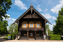 Wooden house on display at Russischen Kolonie ( Russian Colony) Alexandrowka, Potsdam, Brandenburg, Germany
