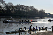Putney, GREAT BRITAIN,   Cambridge  Blue Boat returning from the  Friday Morning training session, Putney Hard.  Tideway Week, Championship Course, Putney/Mortlake, Friday   06/04/2012 [Mandatory Credit, Peter Spurrier/Intersport-images], Sunrise, Sunsets, Silhouettes