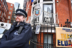 © Licensed to London News Pictures. 14/11/2016. London, UK. Police stand guard as Swedish officials arrive at the Ecuadorian Embassy in London where they are expected to interview WikiLeaks editor-in-chief, Julian Assange. Assange, who has been living at the embassy for over four years, is wanted for questioning over accusations of rape in Stockholm in 2010.  Photo credit: Ben Cawthra/LNP