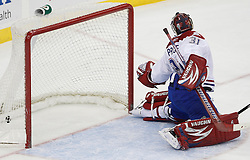 Dec 16, 2009; Newark, NJ, USA; Montreal Canadiens goalie Carey Price (31) looks back as a game winning shot by New Jersey Devils left wing Patrik Elias (26) finds the back of the net during the third period at the Prudential Center. The Devils won 2-1.