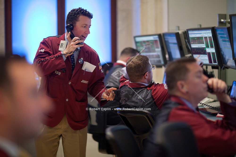 Traders on the floor of the New York Stock Exchange Thursday, April 28, 2011...Photo by Robert Caplin.