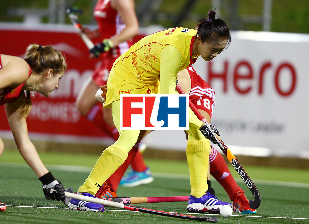 New Zealand, Auckland - 21/11/17  <br /> Sentinel Homes Women&rsquo;s Hockey World League Final<br /> Harbour Hockey Stadium<br /> Copyrigth: Worldsportpics, Rodrigo Jaramillo<br /> Match ID: 10302 - ENG vs CHN<br /> Photo: (9) LI Hong against (18) ANSLEY Giselle
