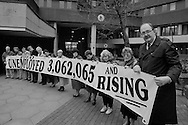 GMB Gen Sec John Edmunds joins Yorkshire & Humberside TUC outside the Employment Dept. HQ in Sheffield as part of the TUC day of action to highlight unemployment as the figures are announced.  Sheffield 18/2/93.