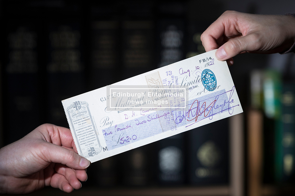 Edinburgh auction house, Lyon & Turnbull are offering a cheque for for five pounds and two shillings, paid to the author, DH Lawrence, for three clandestine copies of the controversial novel Lady Chatterley's Lover. The lot is valued at up to £1,200 in the sale that will take place on 11 October 2017.