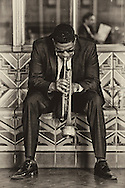 Trumpet player outside of LA's Union Station.