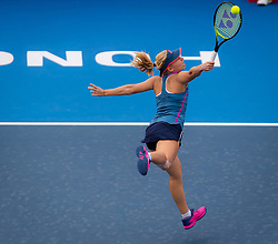 October 12, 2018 - Hong Kong, China - DARIA GAVRILOVA of Australia in action against Shuai Zhang of China during their quarter-final match at the 2018 Prudential Hong Kong Tennis Open WTA International tennis tournament. Zhang won 6:1, 6:3.  (Credit Image: © AFP7 via ZUMA Wire)
