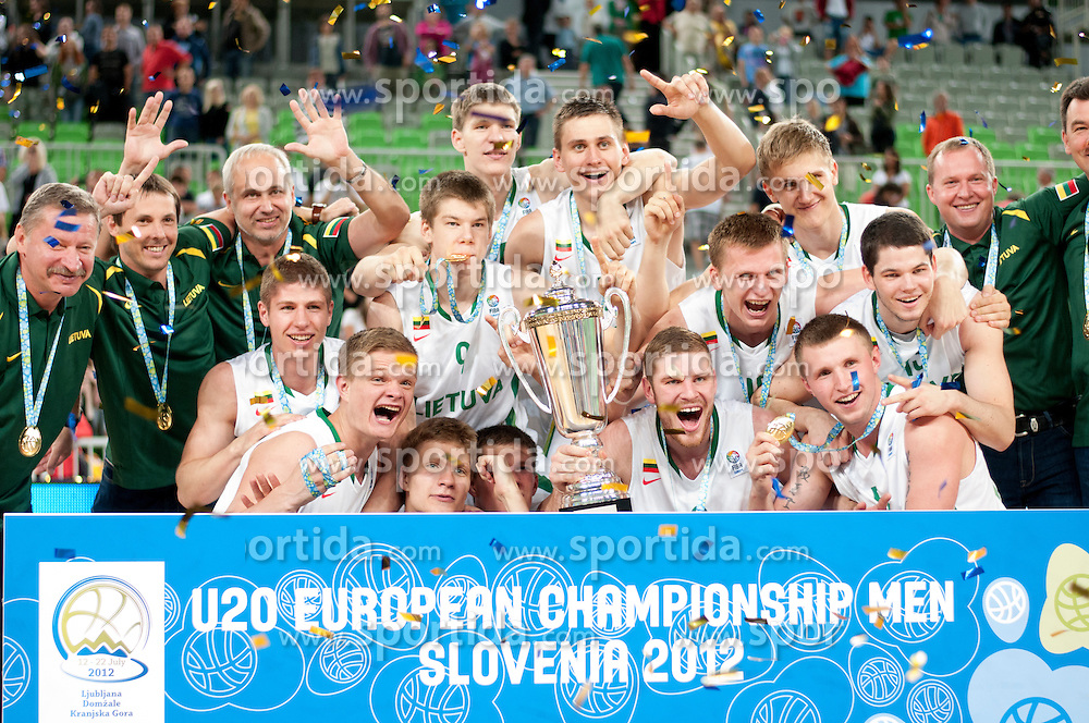 Winning team of Lithuania during Trophy ceremony after basketball match between National teams of Lithuania and France in final match of U20 Men European Championship Slovenia 2012, on July 22, 2012 in SRC Stozice, Ljubljana, Slovenia. (Photo by Urban Urbanc / Sportida.com)