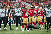 San Francisco 49ers wide receiver Trent Taylor (81) celebrates a first down against the Jacksonville Jaguars at Levi's Stadium in Santa Clara, Calif., on December 24, 2017. (Stan Olszewski/Special to S.F. Examiner)