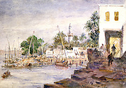 View of Aswan, Egypt'. Watercolour by Hector Horeau (1801-1872) French architect. View of Nile and boats from the bank, minaret in background.