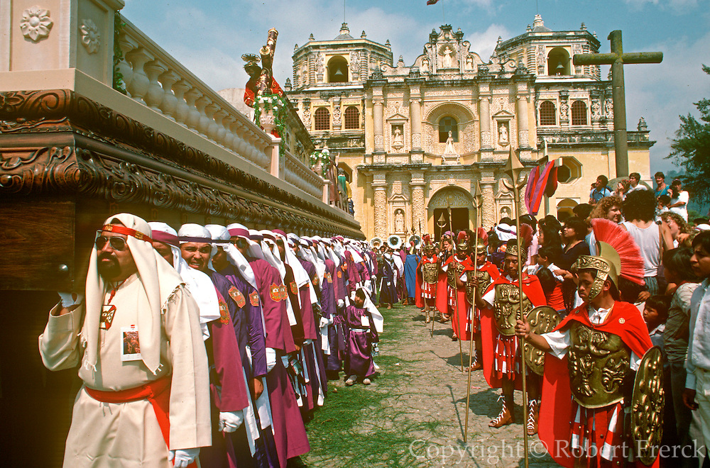 GUATEMALA, FESTIVALS Semana Santa (Easter Week) in Antigua; Good Friday procession leaving La Merced Church