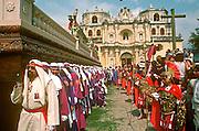 GUATEMALA, FESTIVALS Semana Santa (Easter Week) in Antigua; Good Friday procession leaving La Merced Church