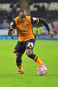 Hull City midfielder Sone Aluko (24)  during the The FA Cup match between Hull City and Brighton and Hove Albion at the KC Stadium, Kingston upon Hull, England on 9 January 2016. Photo by Ian Lyall.