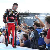 Race car driver Austin Dillon is seen during driver introductions prior to the 58th Annual NASCAR Daytona 500 auto race at Daytona International Speedway on Sunday, February 21, 2016 in Daytona Beach, Florida.  (Alex Menendez via AP)