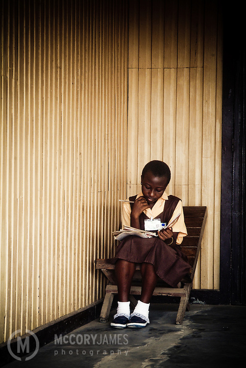 Girl studying at school in Accra, Ghana