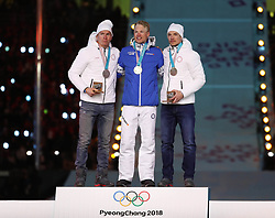 PYEONGCHANG, Feb. 25, 2018  Gold medalist Finland's Iivo Niskanen (C), silver medalist Olympic athlete from Russia Alexander Bolshunov (L) and bronze medalist Olympic athlete from Russia Andrey Larkov pose for photos during medal ceremony for men's 50km mass start classic of cross-country skiing at the closing ceremony for the 2018 PyeongChang Winter Olympic Games at PyeongChang Olympic Stadium, PyeongChang, South Korea, Feb. 25, 2018. (Credit Image: © Bai Xuefei/Xinhua via ZUMA Wire)