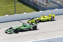 July 8, 2018 - Newton, Iowa, United States of America - SPENCER PIGOT (21) of the United State battles for position during the Iowa Corn 300 at Iowa Speedway in Newton, Iowa. (Credit Image: © Justin R. Noe Asp Inc/ASP via ZUMA Wire)