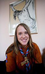 Scout girl and Jesus Christus.  (Photo by: Vid Ponikvar / Sportal Images).