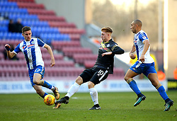 Callum Camps of Rochdale takes on James Vaughan and Ryan Colclough of Wigan Athletic - Mandatory by-line: Robbie Stephenson/JMP - 24/02/2018 - FOOTBALL - DW Stadium - Wigan, England - Wigan Athletic v Rochdale - Sky Bet League One