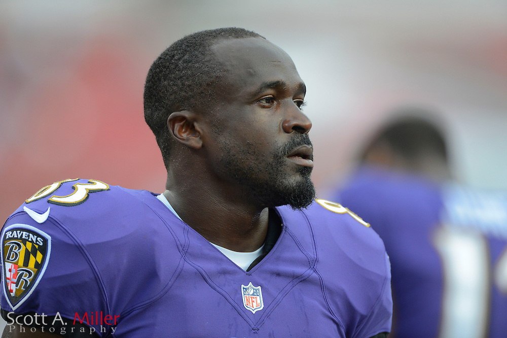 Baltimore Ravens wide receiver Deonte Thompson (83) with his helmet off during a preseason NFL game at Raymond James Stadium on Aug. 8, 2013 in Tampa, Florida. <br /> <br /> &copy;2013 Scott A. Miller