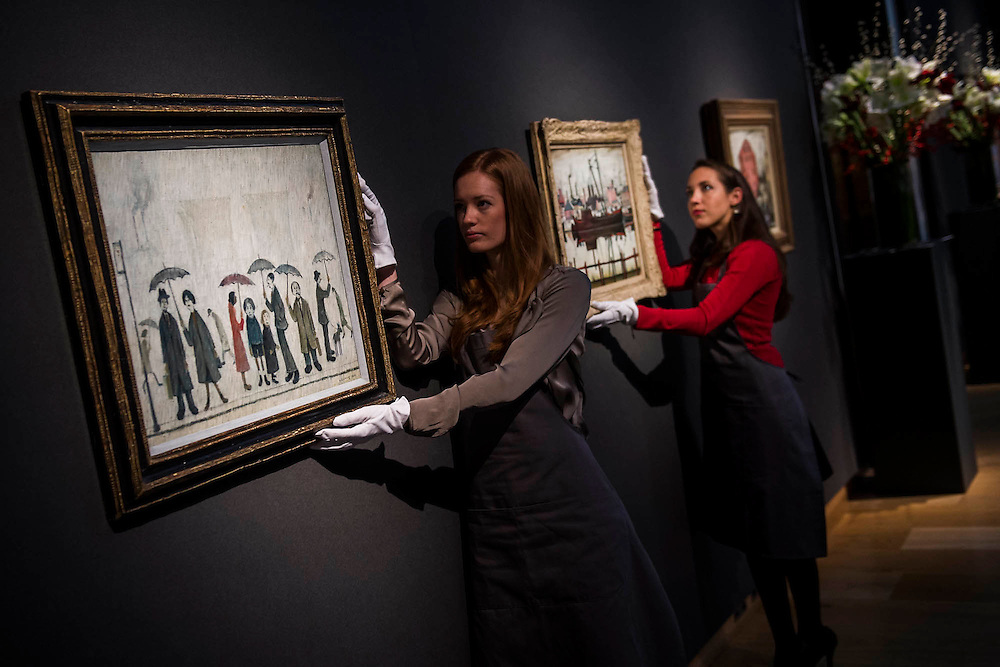 L.S. Lowry, led by Coal Barge and others - Christie's Modern British and Irish Art Sale which will take place on 19 November 2014. Featuring 35 lots, the auction includes  examples of 20th century British sculpture and painting, such as: John Duncan Fergusson's Poise (estimate: £80,000-120,000); six paintings by L.S. Lowry, led by Coal Barge (estimate: £700,000-1,000,000);  Euan Uglow's masterpiece entitled Three In One (estimate: £500,000-800,000; Figure (Sunion) by Dame Barbara Hepworth (estimate: £600,000-800,000); and sculpture by leading artists of the genre including Henry Moore, Lynn Chadwick, Dame Elisabeth Frink, and Naum Gabo.