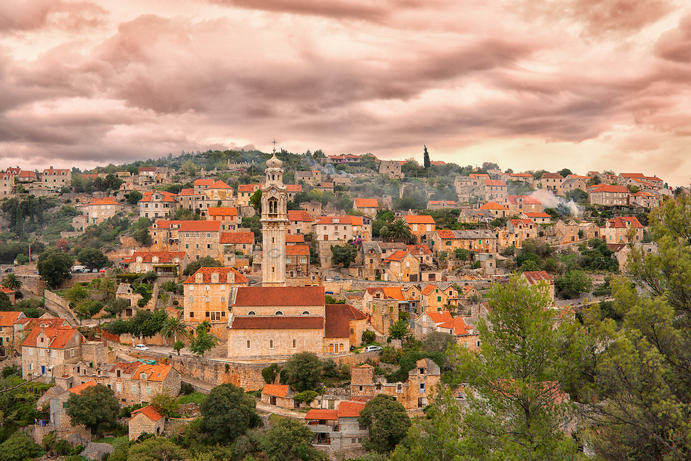 The incredibly picturesque town of Lozice on the island of Brac in the Adriatic Ocean