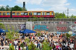 Beach party at urban beach club at Magdalena club in Friedrichshain , Berlin, Germany