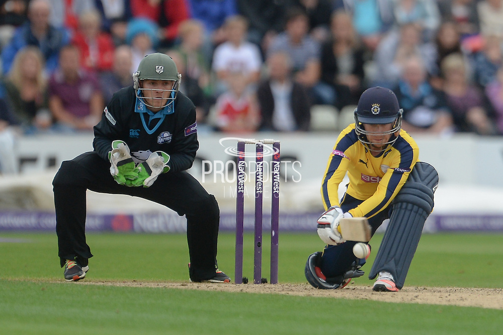 Adam Wheater and Ben Cox during the NatWest T20 Blast Quarter Final match between Worcestershire County Cricket Club and Hampshire County Cricket Club at New Road, Worcester, United Kingdom on 14 August 2015. Photo by David Vokes.