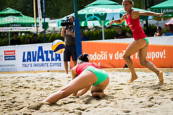 Jelena Pesic of team Ana in Jelena and Ana Skarlovnik of team Ana in Jelena during Qlandia Beach Challenge 2015 and Beach Volleyball Slovenian National Championship 2015, on July 25, 2015 in Kranj, Slovenia. Photo by Ziga Zupan / Sportida