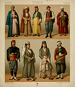 Traditional Turkish fashion, accessories and lifestyle from Geschichte des kost?ms in chronologischer entwicklung (History of the costume in chronological development) by Racinet, A. (Auguste), 1825-1893. and Rosenberg, Adolf, 1850-1906, Volume 2 printed in Berlin in 1888