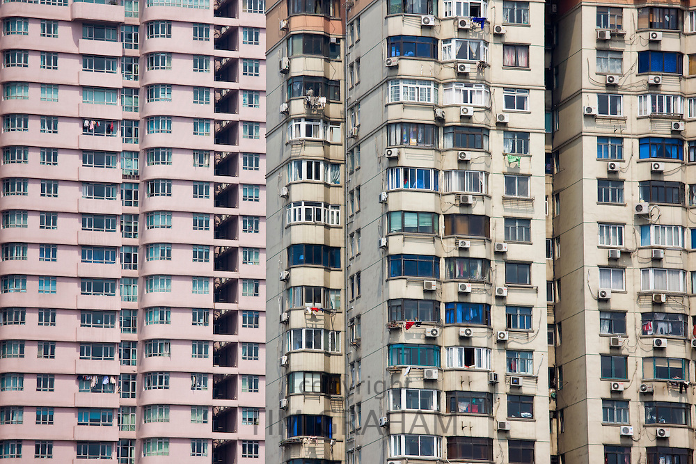 High rise tenement apartment blocks in Shanghai, China