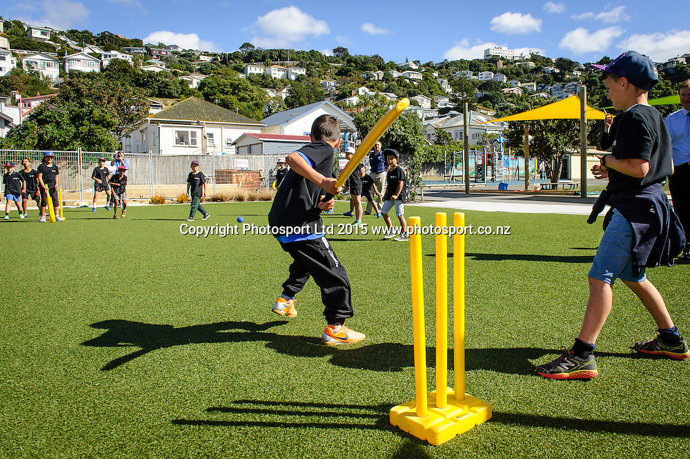 Students play cricket after the Sport NZ Strategy Launch, Lyall Bay School, Wellington, New Zealand. Friday 20 March 2015. Copyright Photo: Mark Tantrum/www.Photosport.co.nz