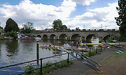 Maidenhead, ENGLAND   Maidenhead Town Regatta, River Thames.  General View of Maidenhead Bridge and crews boating to compete in the regatta 16:59:50  Saturday  08/08/2015   [Mandatory Credit. Peter SPURRIER/ Intersport Images.