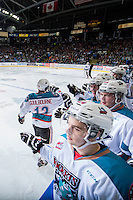 KELOWNA, CANADA - MARCH 21: Tyrell Goulbourne #12 of Kelowna Rockets celebrates a goal against the Vancouver Giants on March 21, 2015 at Prospera Place in Kelowna, British Columbia, Canada.  (Photo by Marissa Baecker/Shoot the Breeze)  *** Local Caption *** Tyrell Goulbourne;