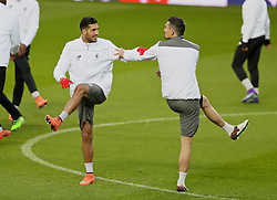 MANCHESTER, ENGLAND - Wednesday, March 16, 2016: Liverpool's Emre Can and Dejan Lovren during a training session at Old Trafford ahead of the UEFA Europa League Round of 16 2nd Leg match against Manchester United. (Pic by David Rawcliffe/Propaganda)
