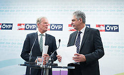 10.12.2014, ÖVP Bundespartei, Wien, AUT, ÖVP, Konzept zur Steuerreform. im Bild v.l.n.r. Vizekanzler und Minister fuer Wirtschaft und Wissenschaft Reinhold Mitterlehner (ÖVP) und Bundesminister für Finanzen Hans Jörg Schelling (ÖVP) // f.l.t.r. Vice Chancellor of Austria and Minister of Science and Economy Reinhold Mitterlehner (OeVP) and Minister of Finance Johann Georg Schelling (OeVP) during press conference with topic tax reform of the Austrian People's Party at federal party headquarter in Vienna, Austria on 2014/12/10. EXPA Pictures © 2014, PhotoCredit: EXPA/ Michael Gruber
