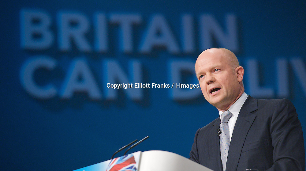 William Hague MP, Foreign Secretary during the Conservative Party Conference, ICC, Birmingham, Great Britain, October 7, 2012. Photo by Elliott Franks / i-Images.
